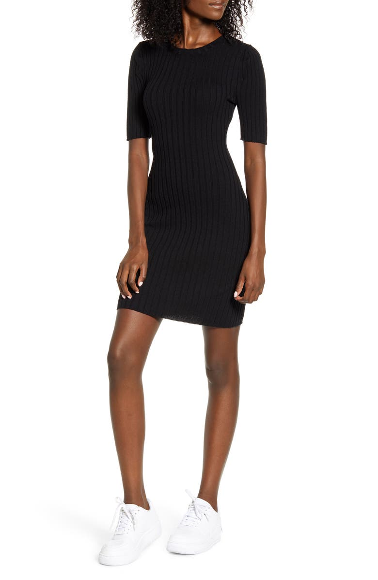 LOVE, FIRE Ribbed Sweater Dress, Main, color, BLACK