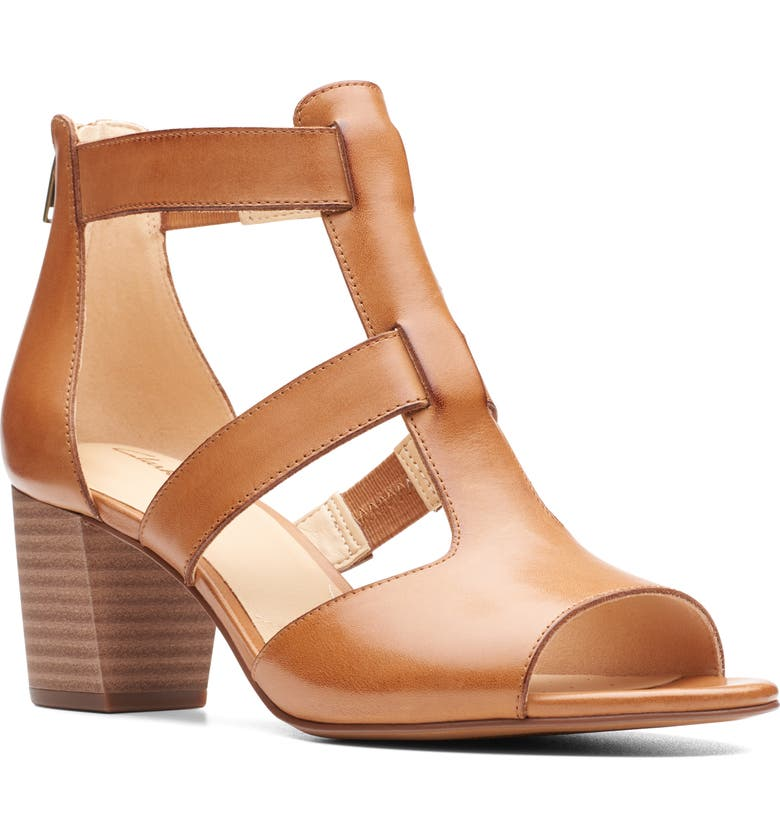 CLARKS<SUP>®</SUP> Deloria Fae Sandal, Main, color, TAN LEATHER