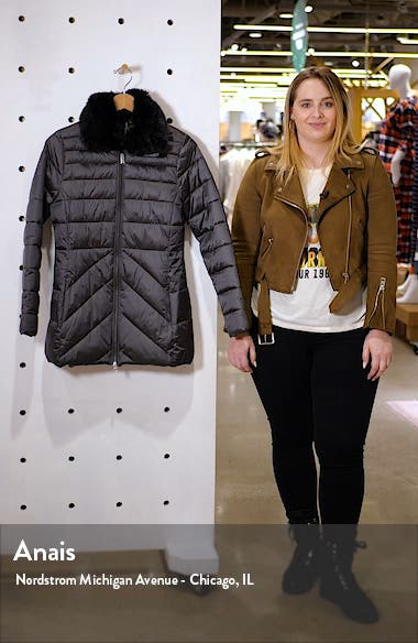 Shannon Mix Quilted Puffer Coat with Faux Fur Collar, sales video thumbnail