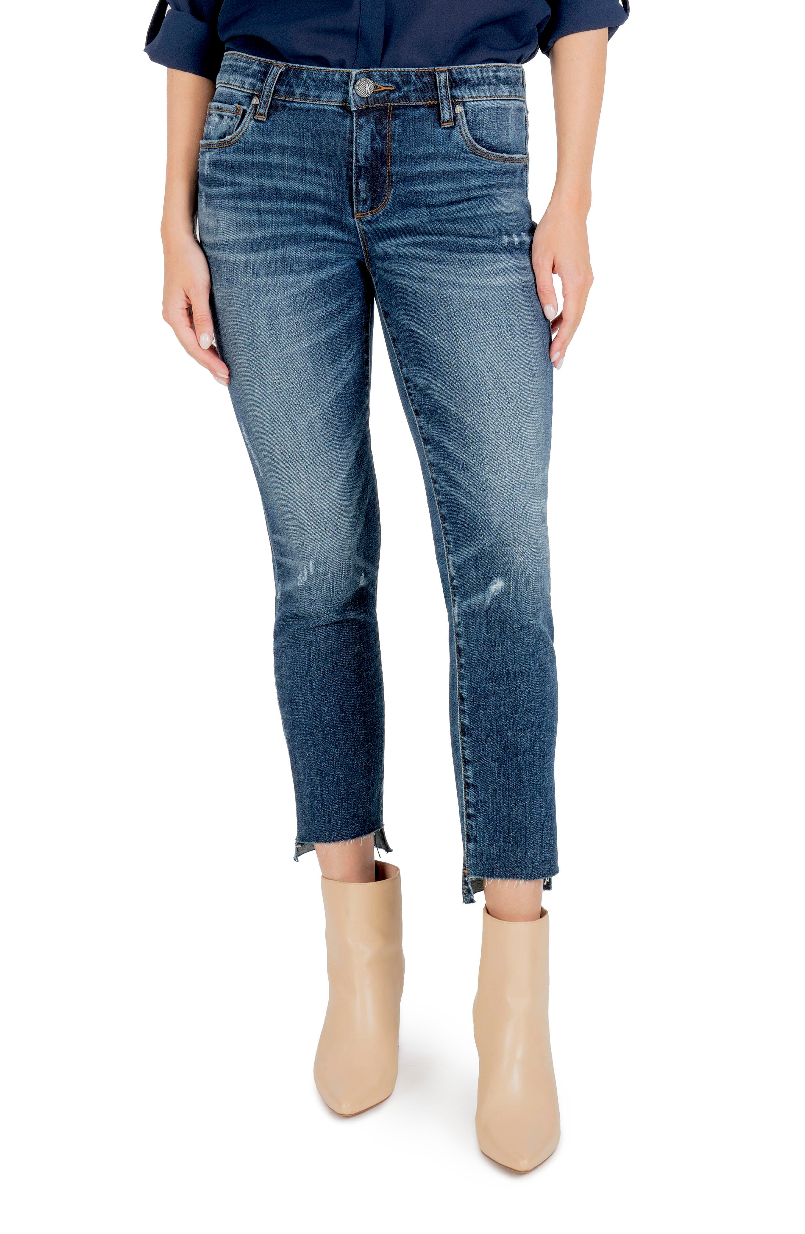 Reese Raw Hem Ankle Straight Leg Jeans