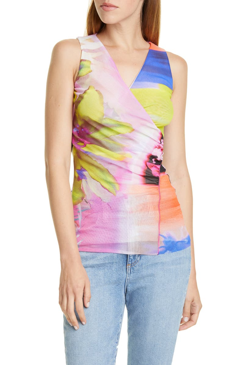 FUZZI Floral & Chevron Sleeveless Wrap Top, Main, color, 650