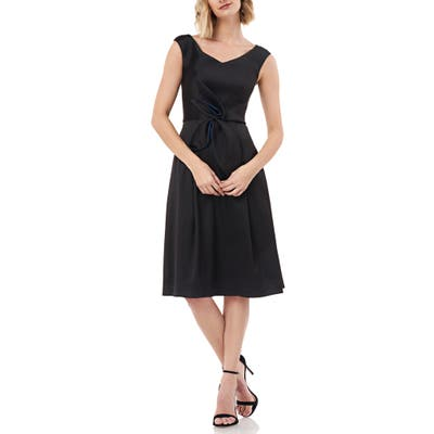 Kay Unger Sleeveless Stretch Mikado Fit & Flare Dress, Black