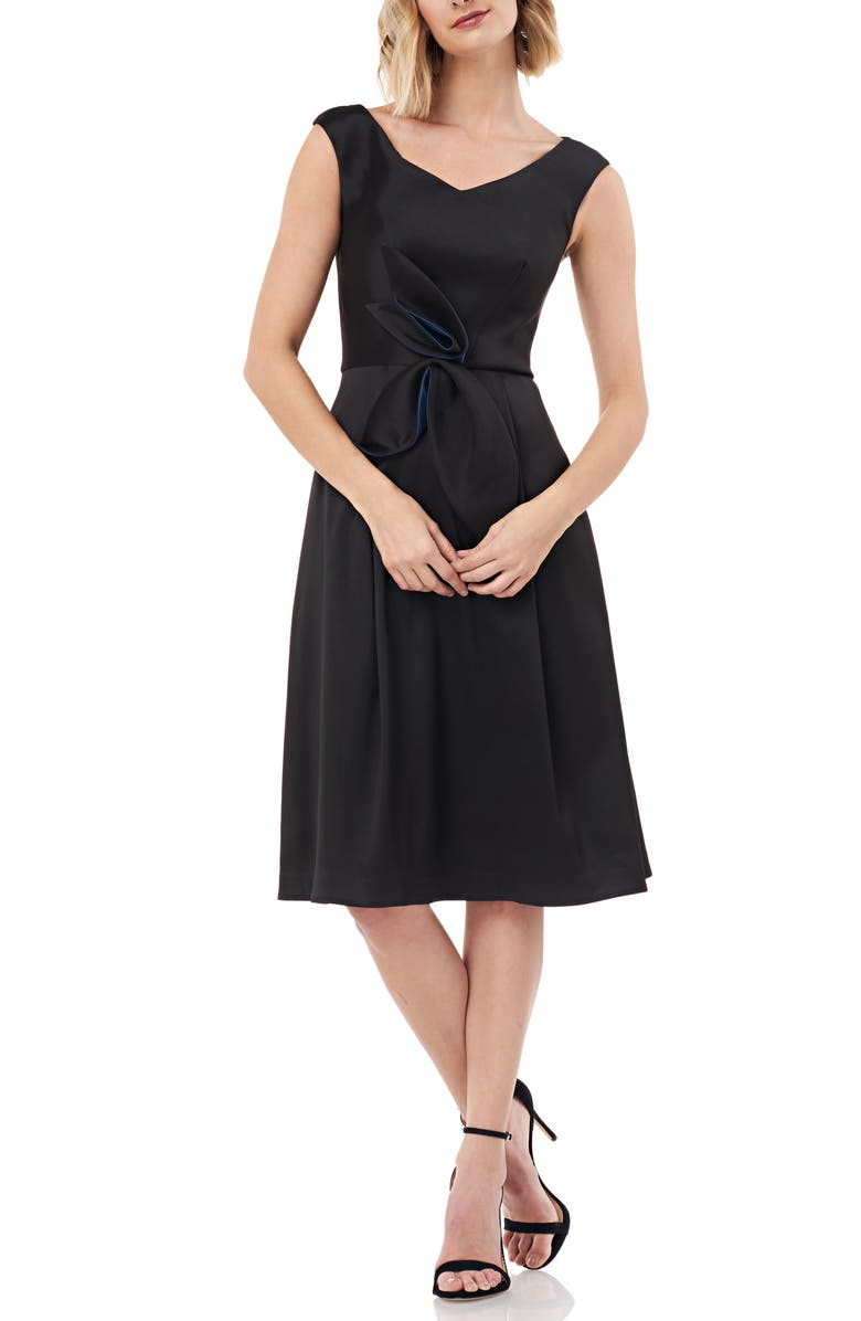 KAY UNGER Sleeveless Stretch Mikado Fit & Flare Dress, Main, color, BLACK