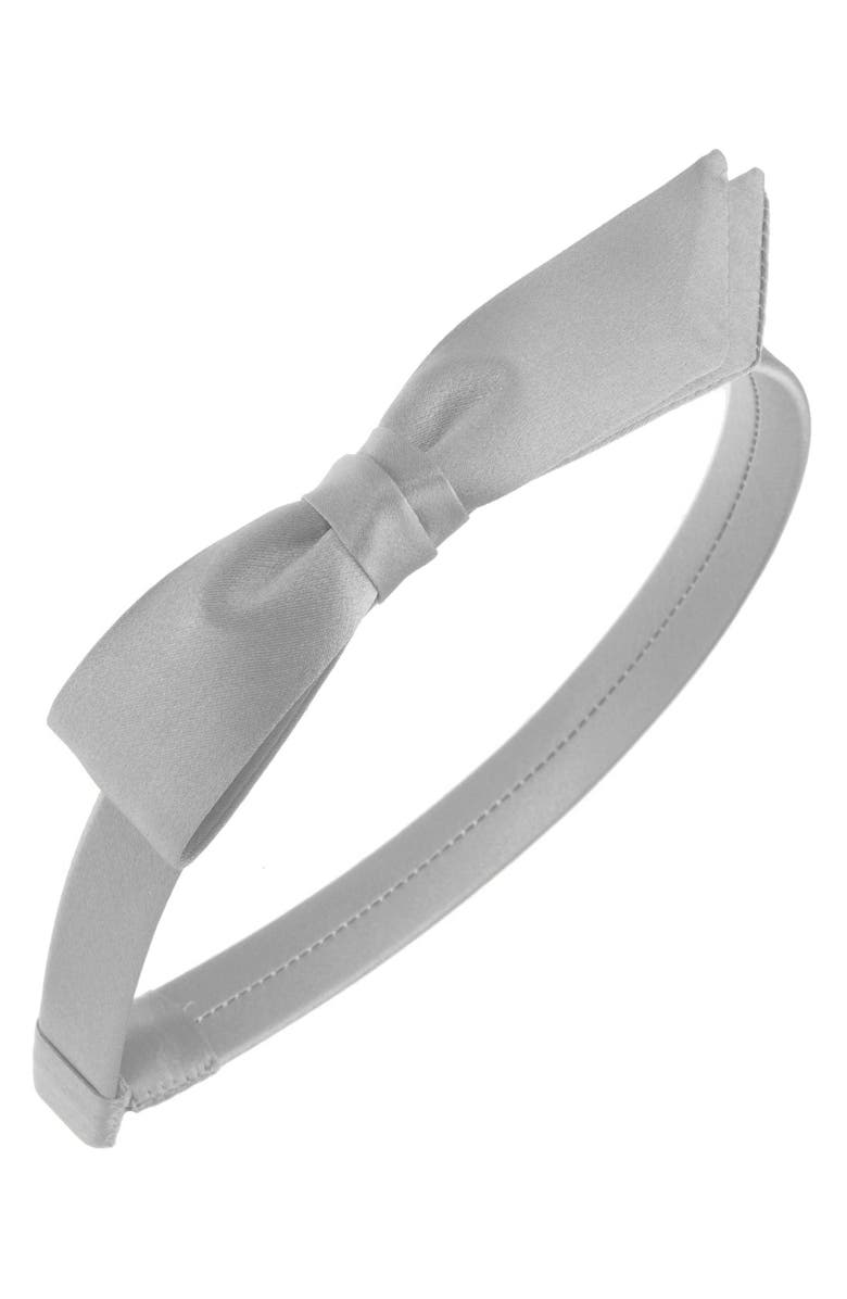 L. ERICKSON 'Bermuda Bow' Silk Headband, Main, color, SILVER
