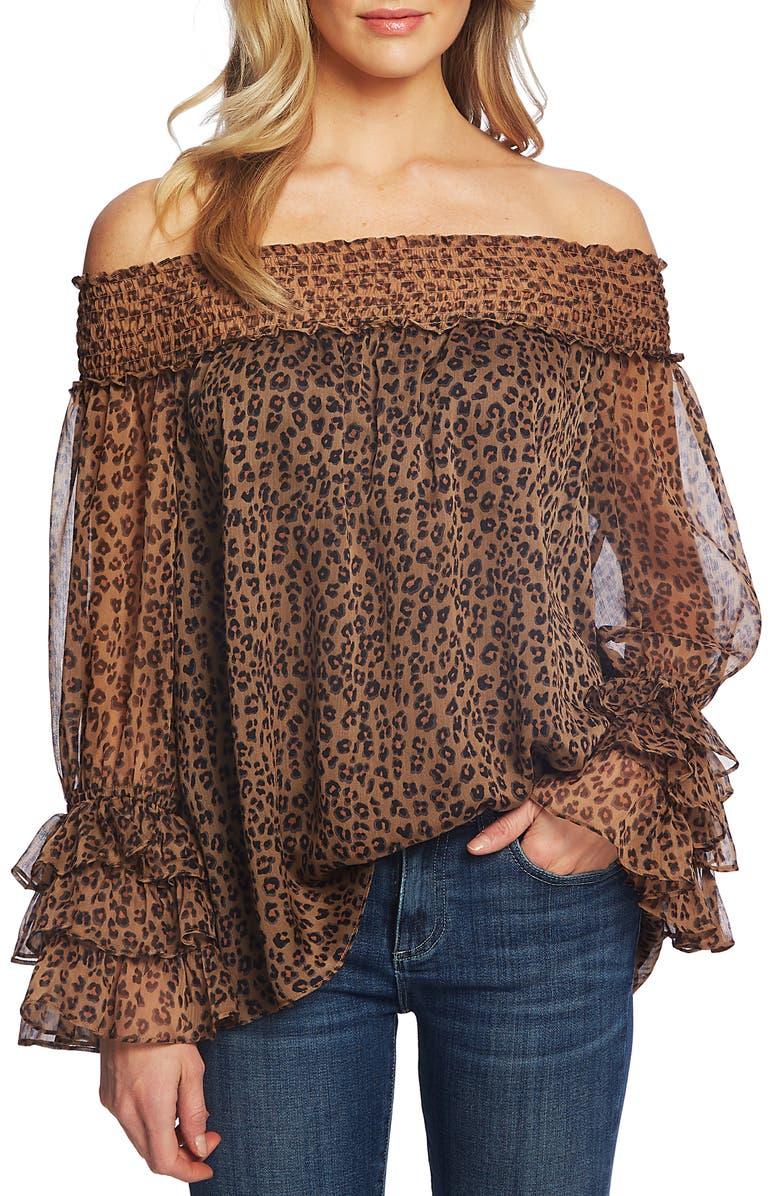 CECE Leopard Print Off the Shoulder Ruffle Blouse, Main, color, SPICEWOOD