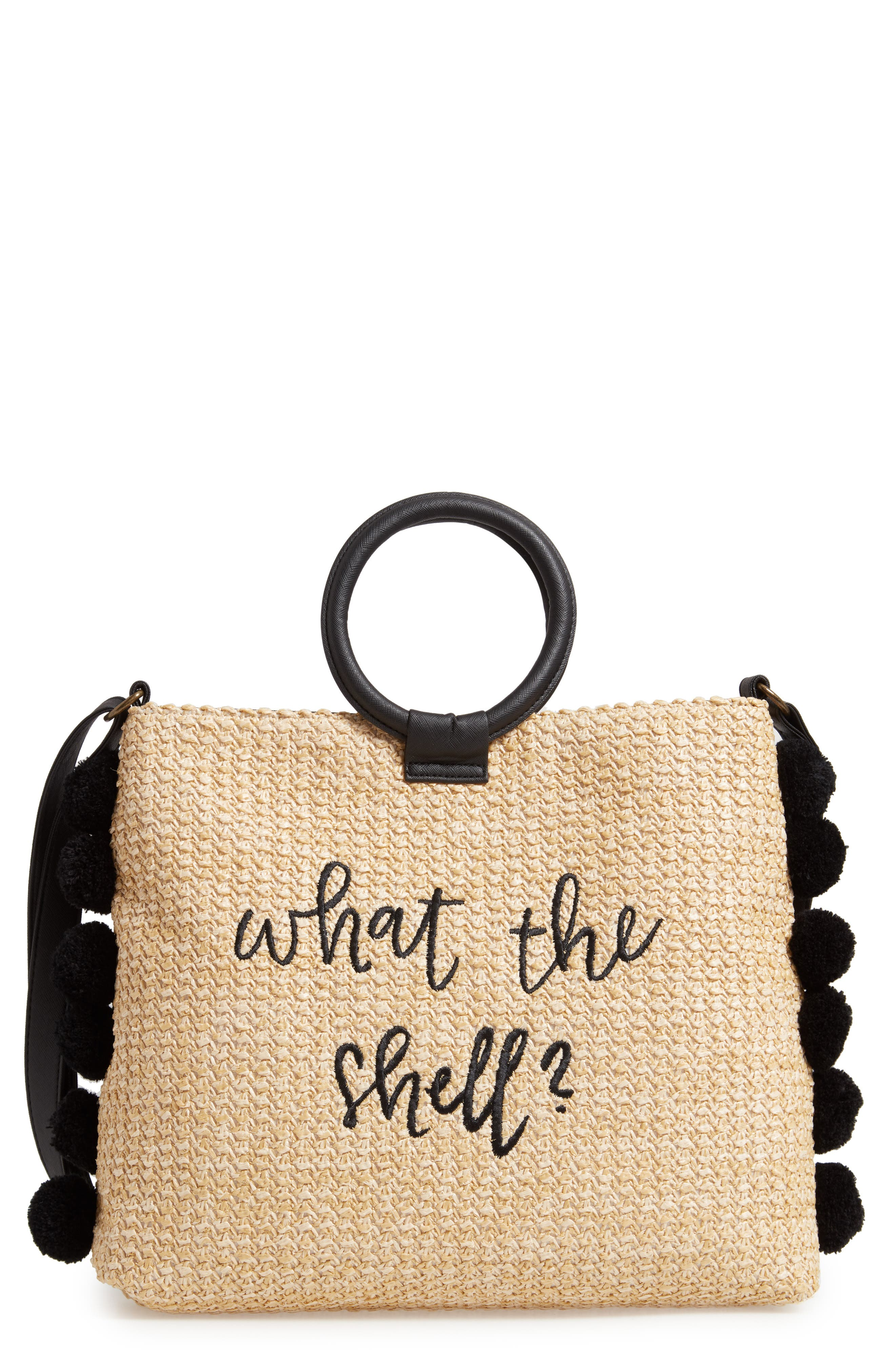Pompom Trim Embroidered Straw Tote, Main, color, NATURAL
