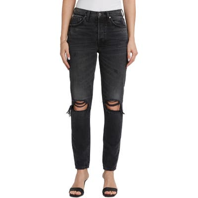 Boyish Jeans The Billy Ripped High Waist Ankle Skinny Jeans, Grey