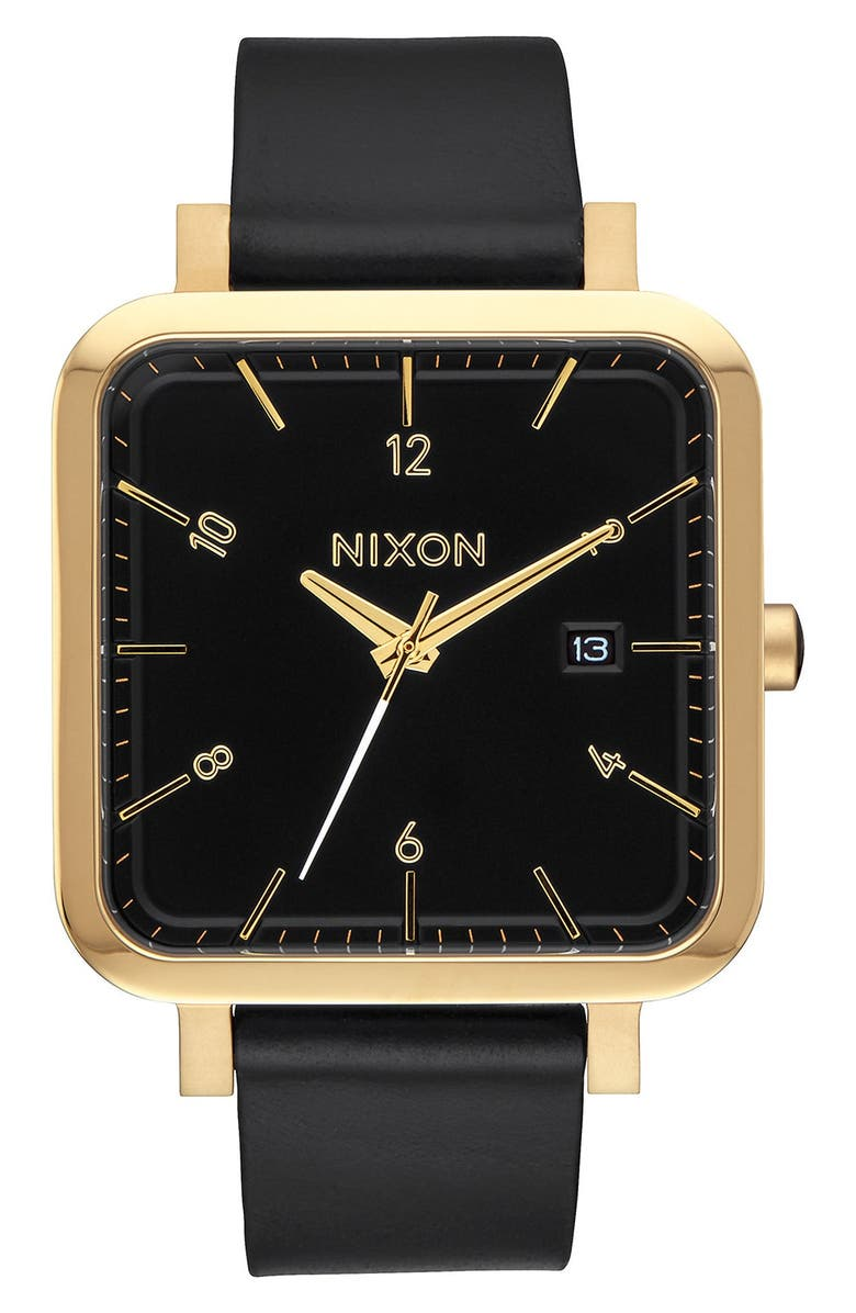 NIXON 'Ragnar' Leather Strap Watch, 36mm, Main, color, 001