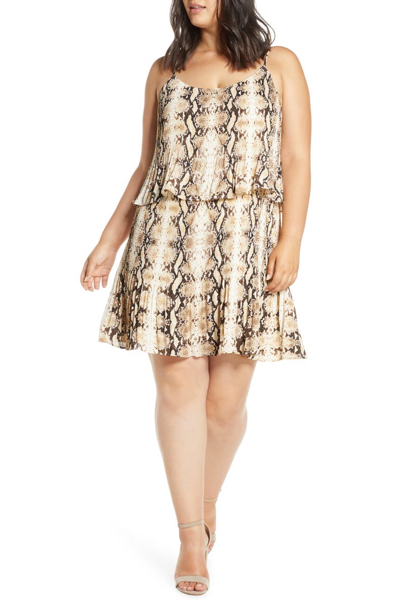 GIBSON x City Safari Tara Gibson Pleated Popover Dress, Main, color, BROWN PYTHON