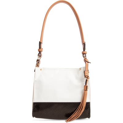 Sondra Roberts Colorblock Faux Leather Mini Hobo Bag - White