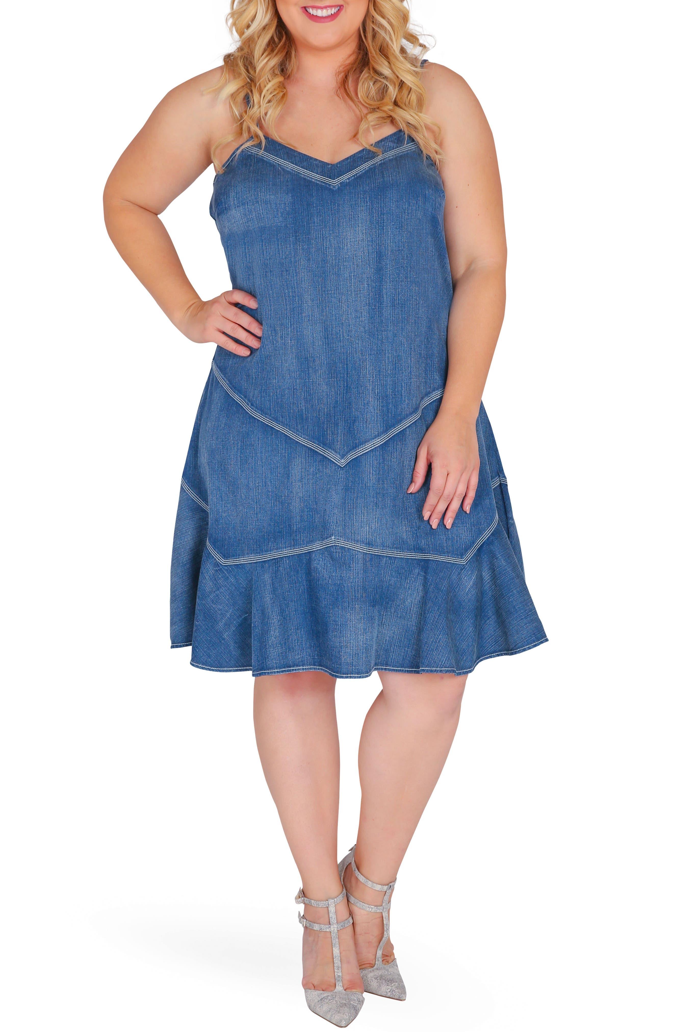 Plus Size Standards & Practices Rosie Denim Tank Dress, Blue