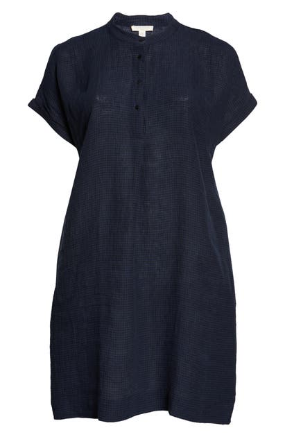 Eileen Fisher CHECK FRONT BUTTON DRESS