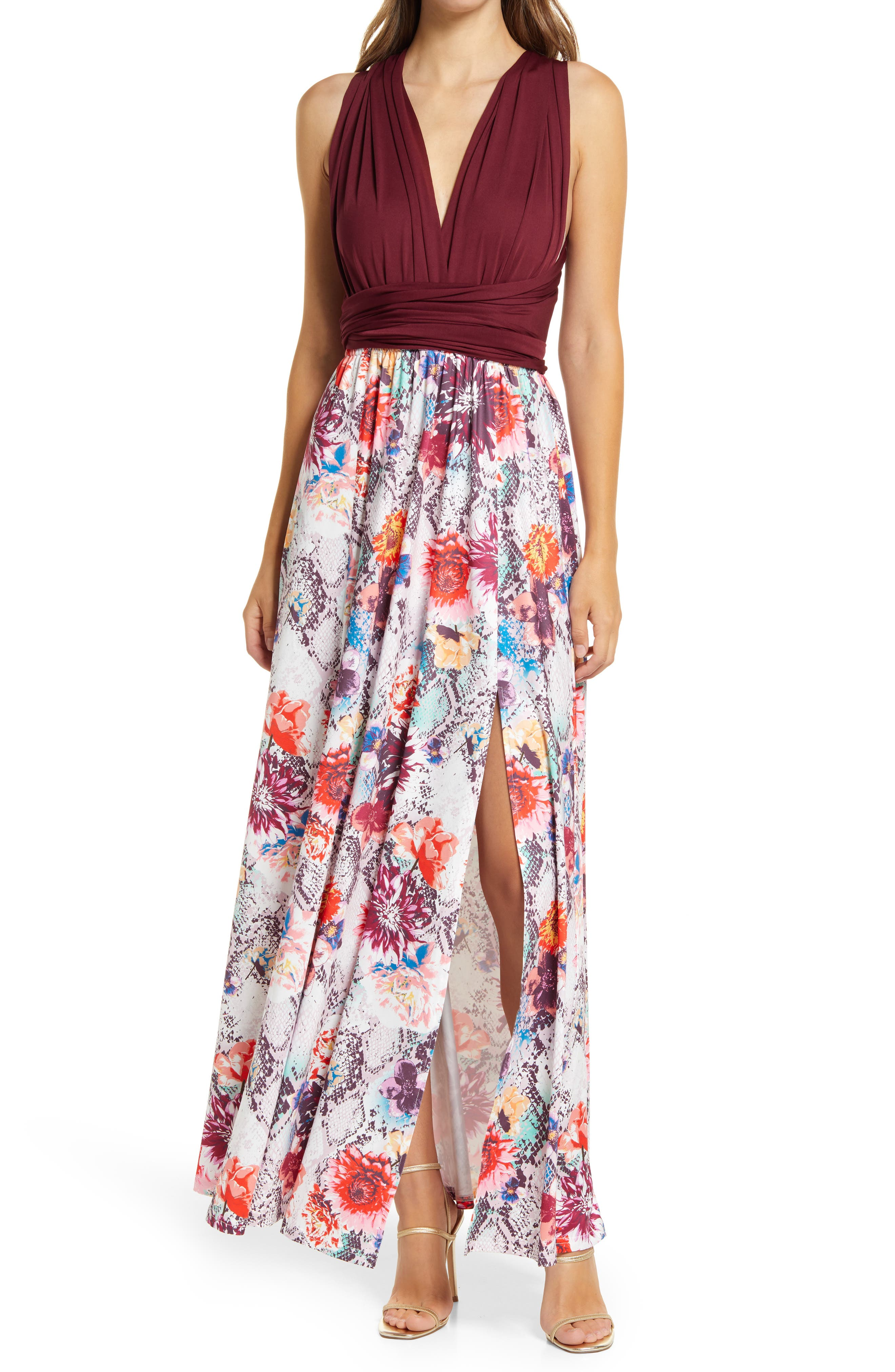 Floral Print Convertible Bodice Gown