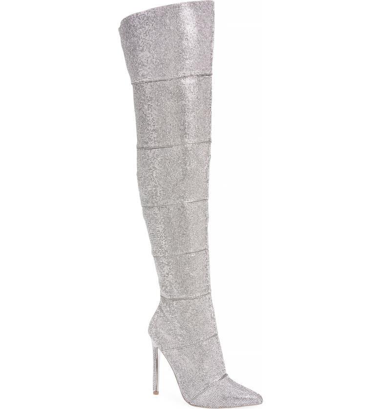 STEVE MADDEN Wonder Crystal Embellished Over the Knee Boot, Main, color, RHINESTONE