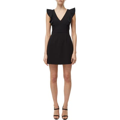 French Connection Whisper Ruffle Minidress, Black