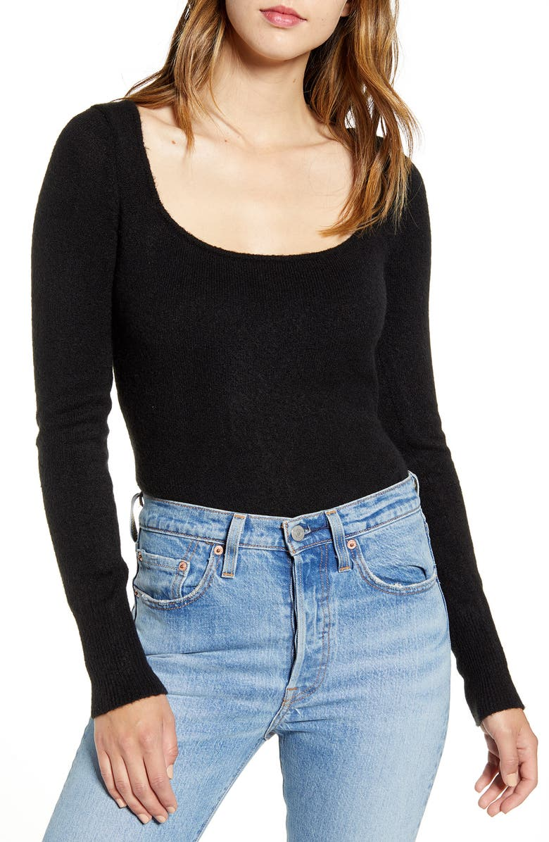 LEITH Long Sleeve Sweater Bodysuit, Main, color, BLACK