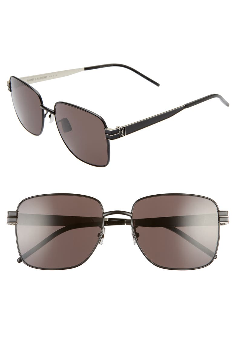 SAINT LAURENT 57mm Navigator Sunglasses, Main, color, BLACK