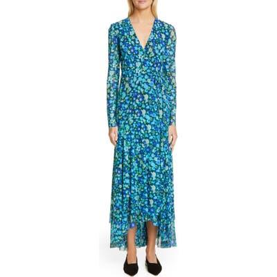 Ganni Floral Print Mesh Long Sleeve Maxi Wrap Dress, Blue