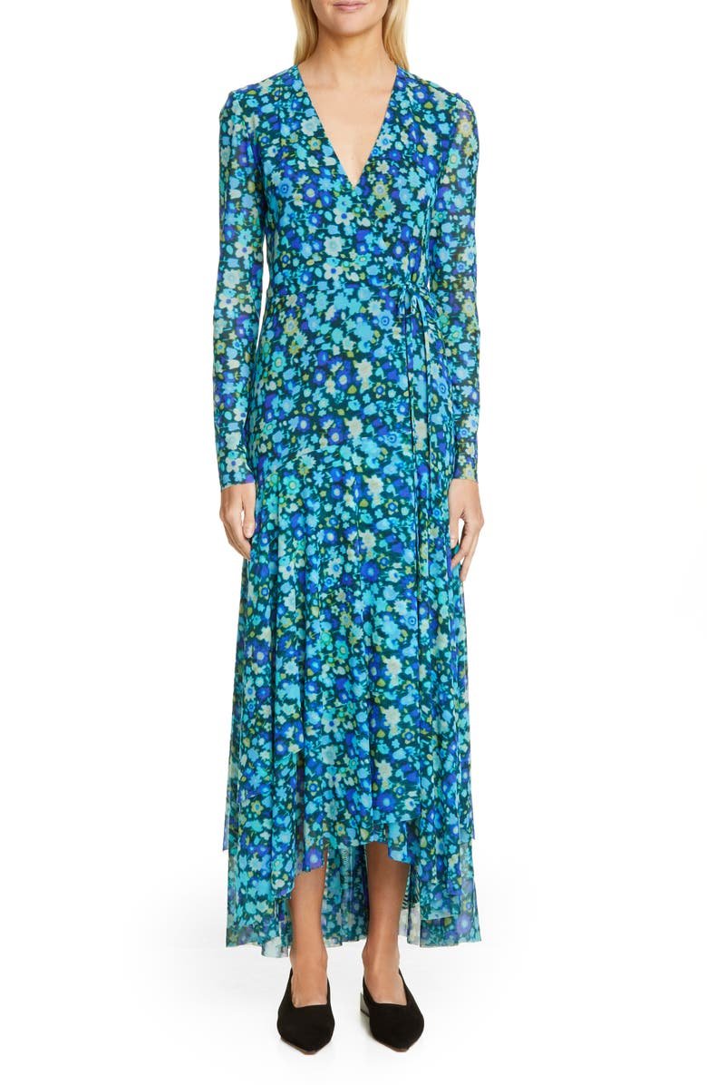 GANNI Floral Print Mesh Long Sleeve Maxi Wrap Dress, Main, color, AZURE BLUE