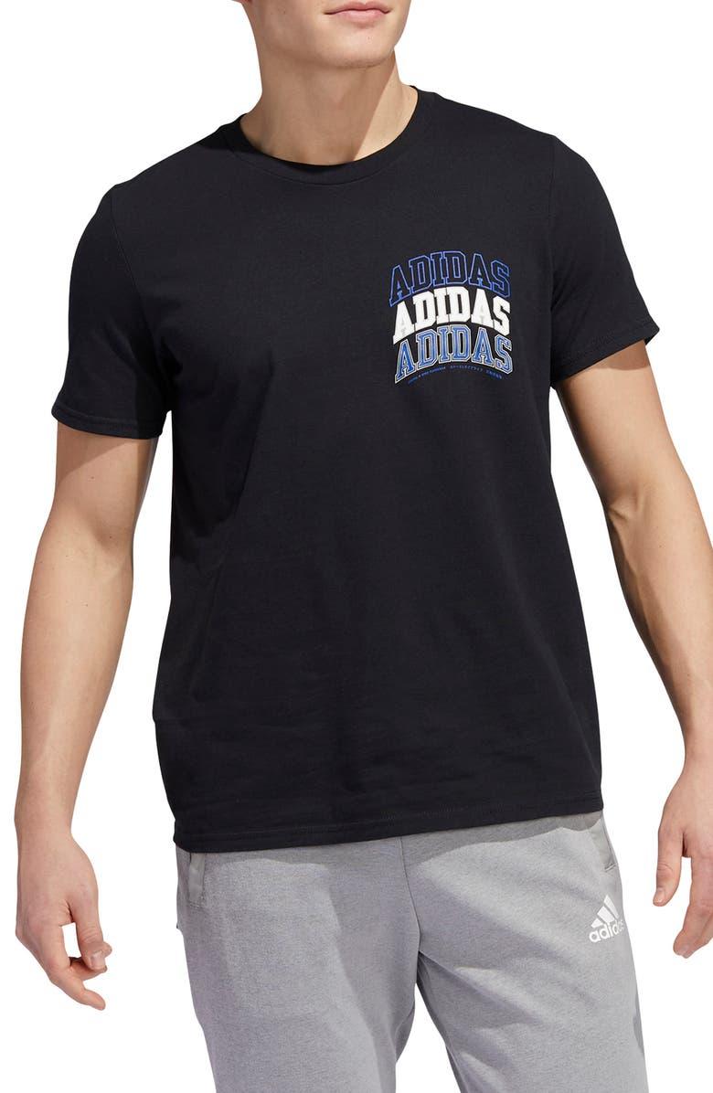 ADIDAS Collegiate Graphic Tee, Main, color, BLACK