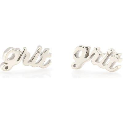 Kris Nations Grit Script Stud Earrings