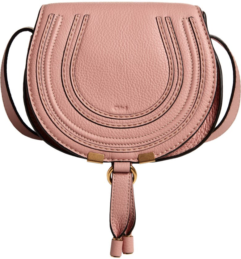 CHLOÉ Mini Marcie Leather Crossbody Bag, Main, color, FALLOW PINK