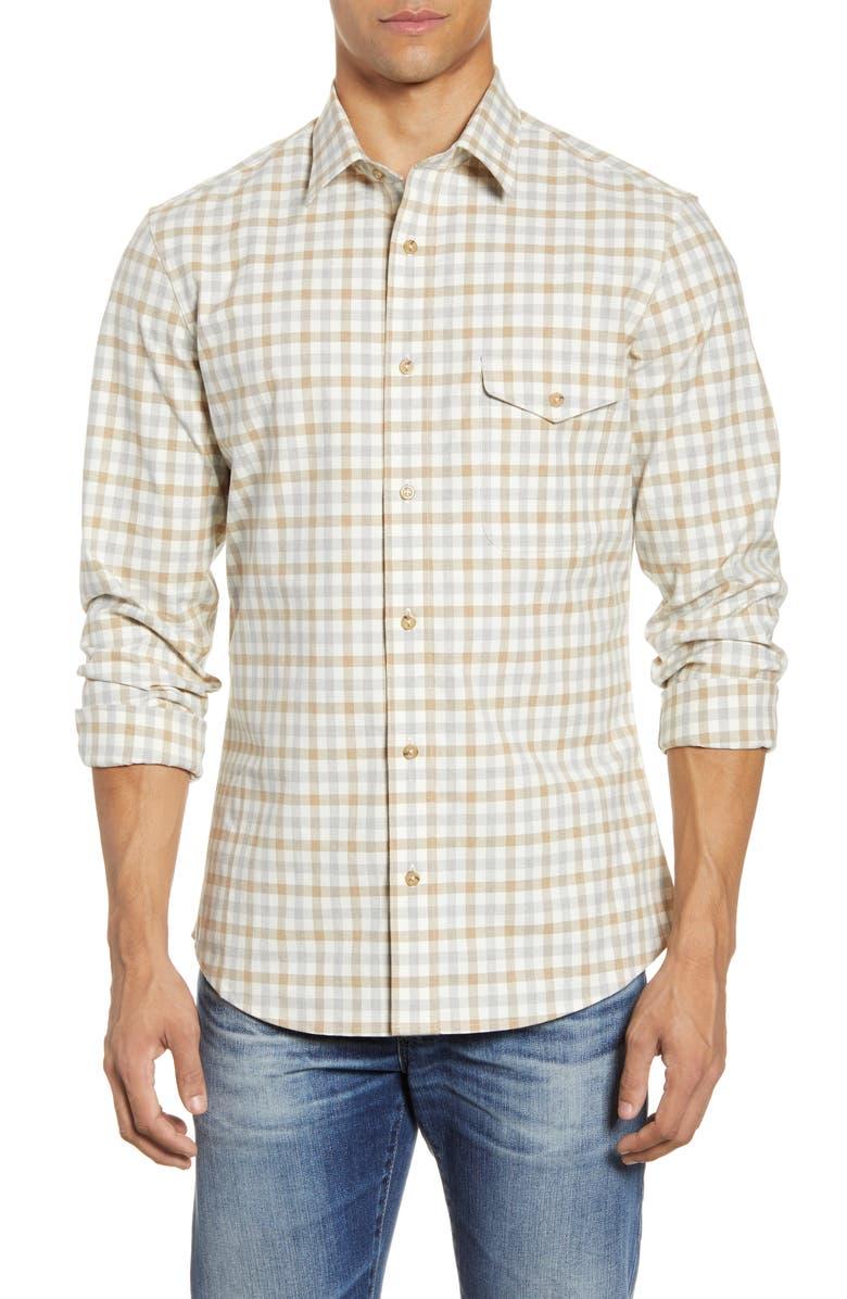 NORDSTROM MEN'S SHOP Trim Fit Check Flannel Button-Up Shirt, Main, color, IVORY NEUTRAL HEATHER CHECK