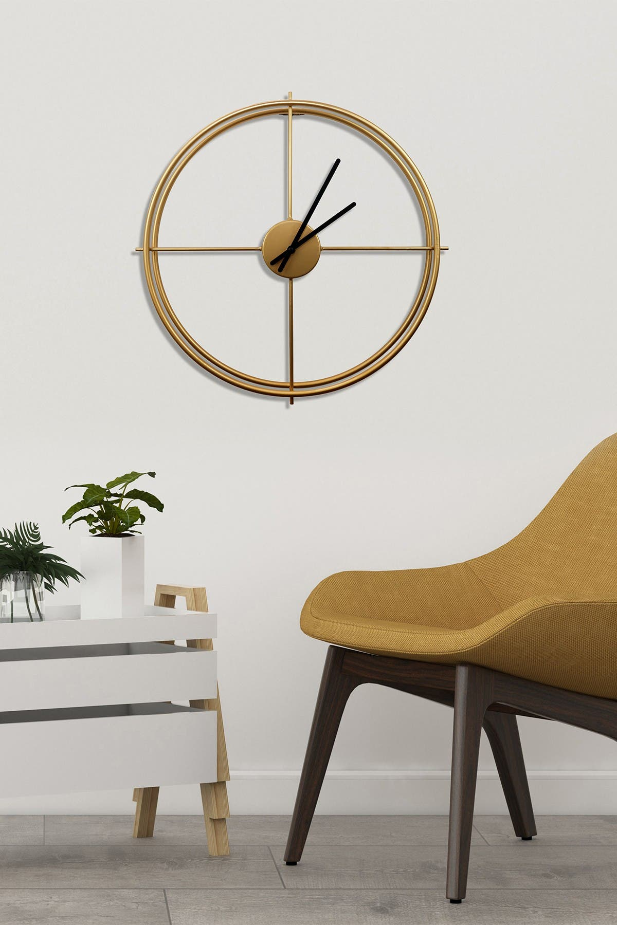 Image of WalPlus Minimalist 50cm Iron Wall Clock - Gold