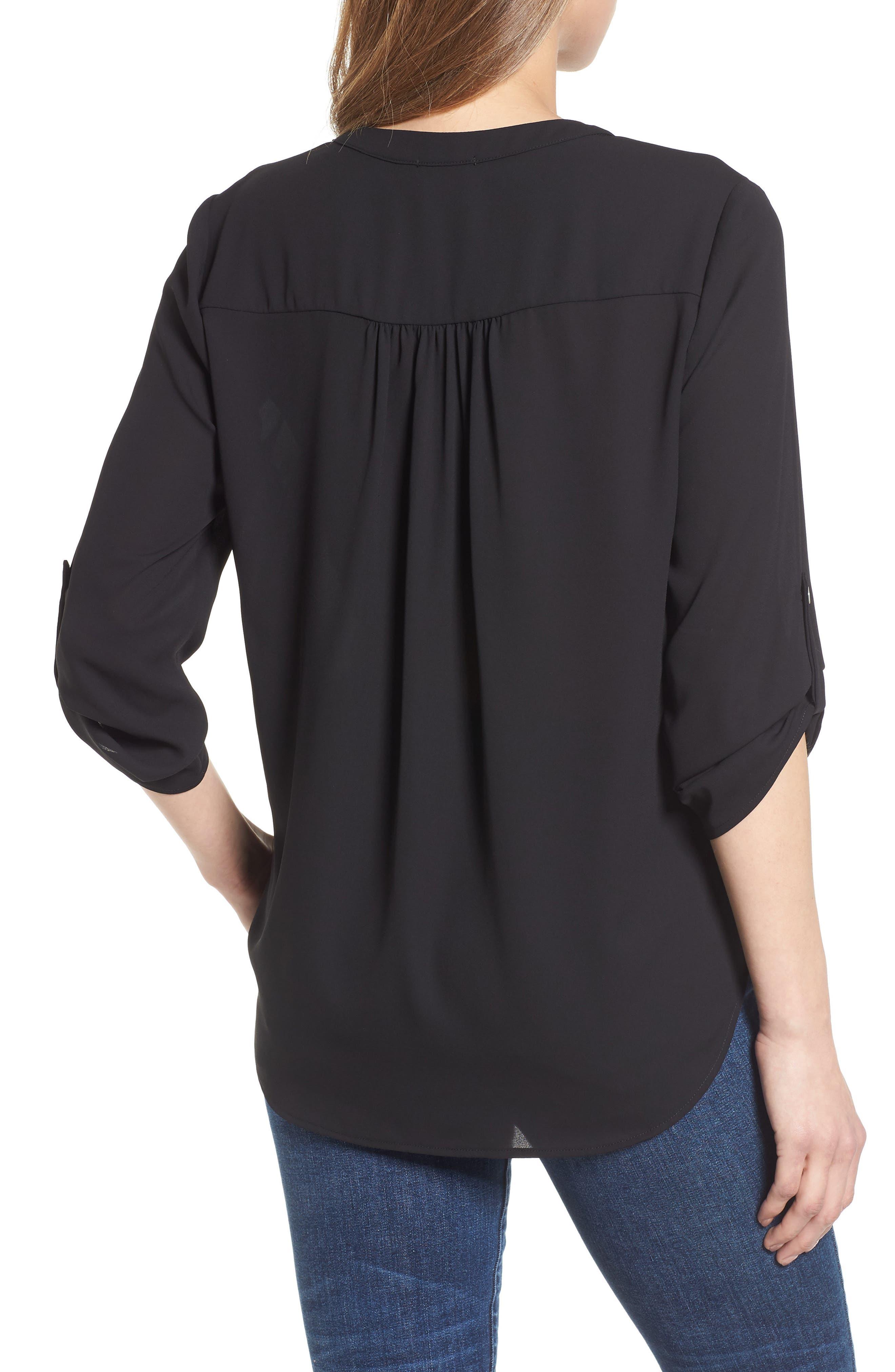 ,                             Roll-Tab Sleeve Tunic,                             Alternate thumbnail 2, color,                             BLACK