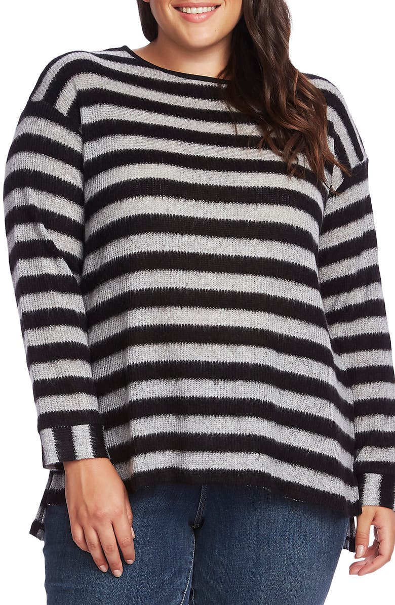 VINCE CAMUTO Fuzzy Stripe Boatneck Sweater, Main, color, RICH BLACK
