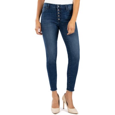 Kut From The Kloth Donna High Waist Button Fly Raw Hem Skinny Jeans, Blue