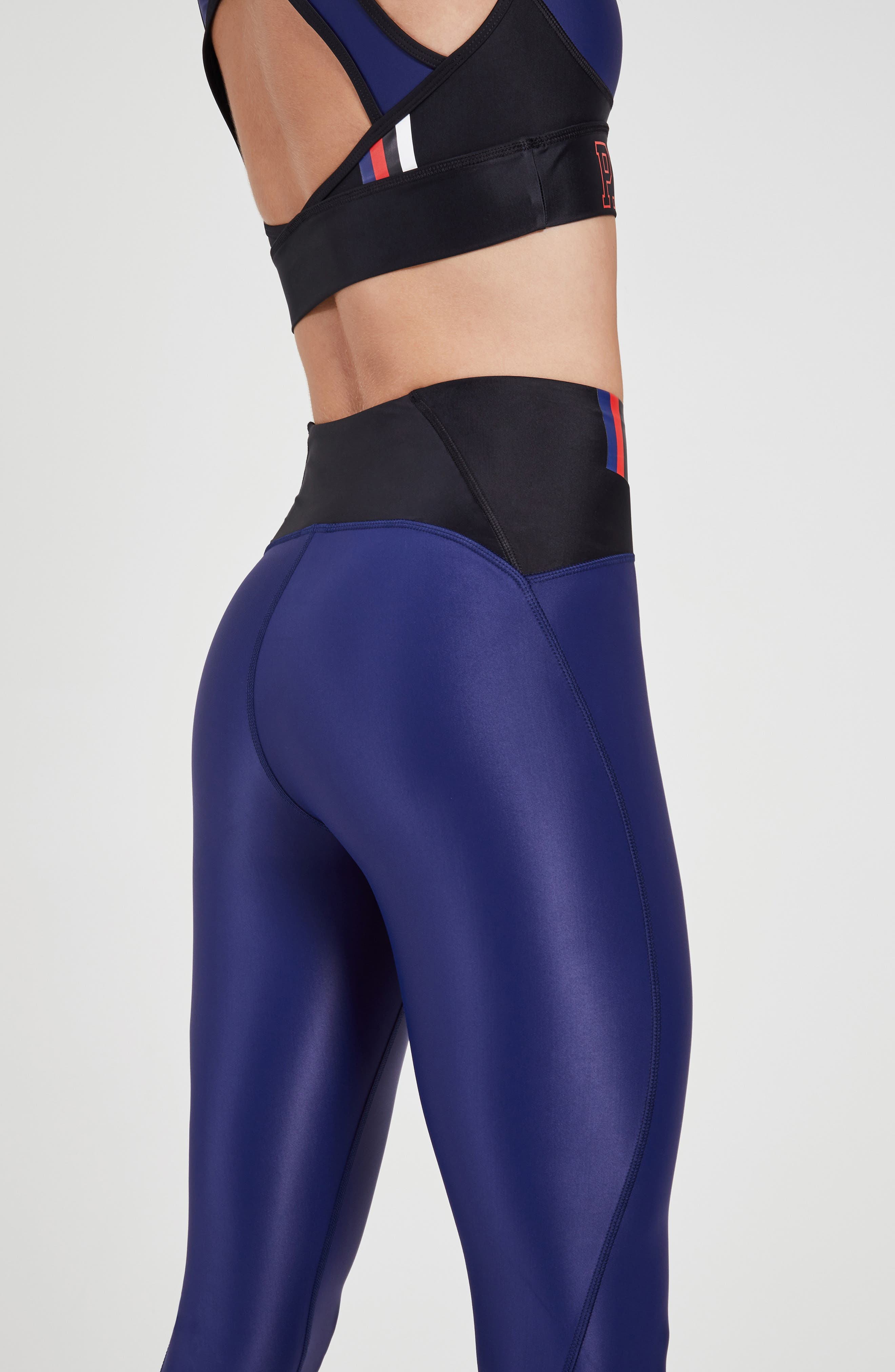 ,                             Discus High Waist Leggings,                             Alternate thumbnail 5, color,                             NAVY
