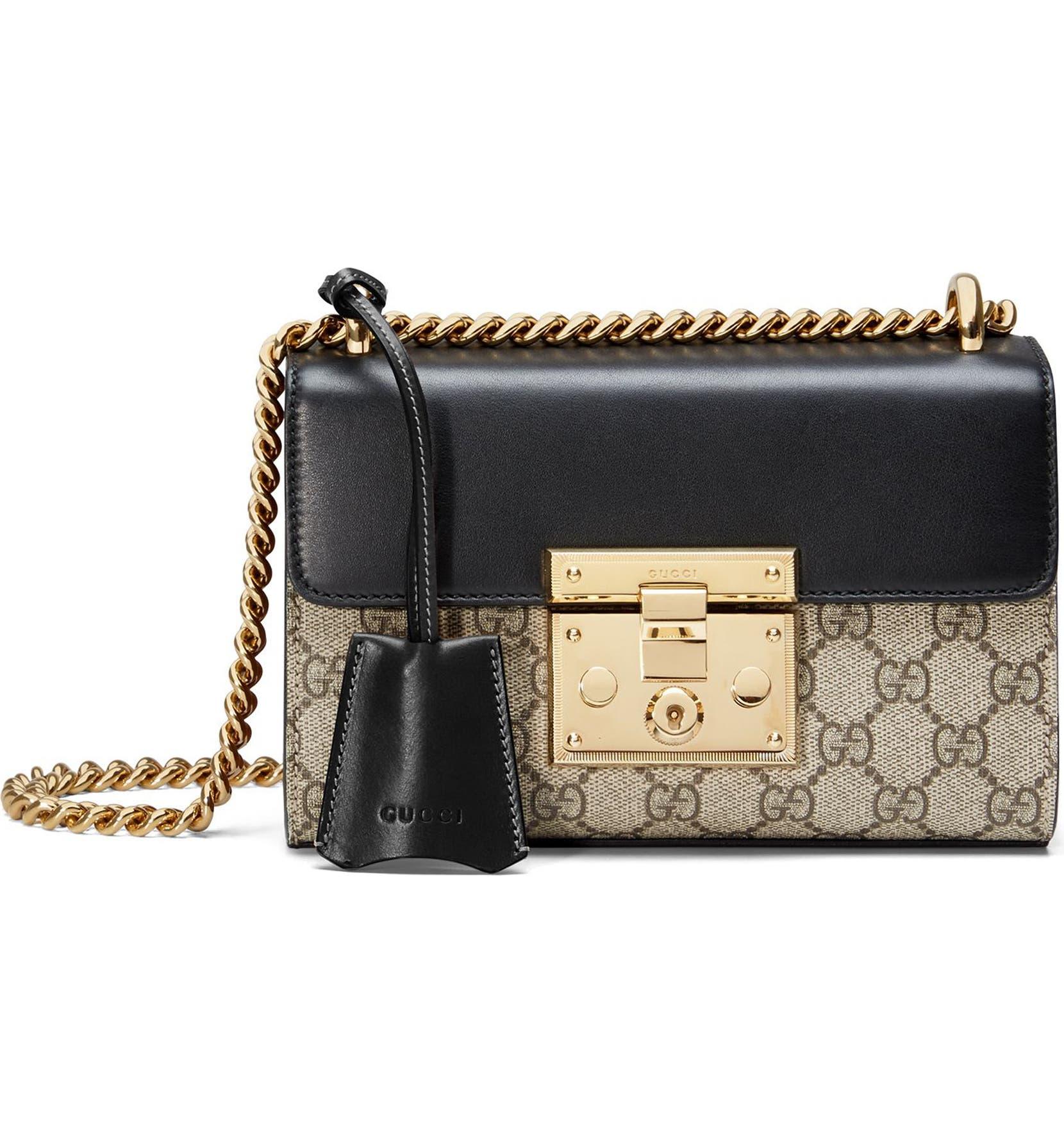 842f5833eadf Gucci Small Padlock GG Supreme Canvas & Leather Shoulder Bag | Nordstrom
