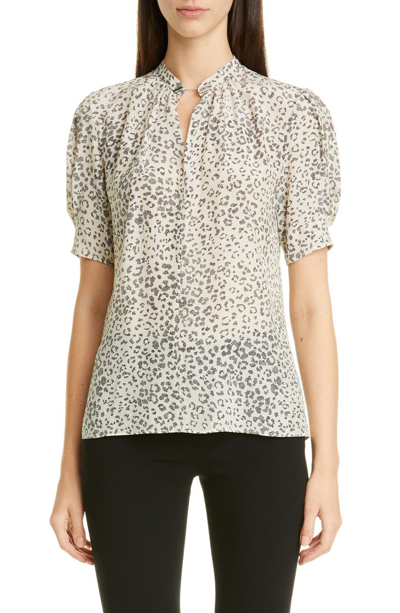 ALTUZARRA Cheetah Print Silk Blouse, Main, color, OYSTER
