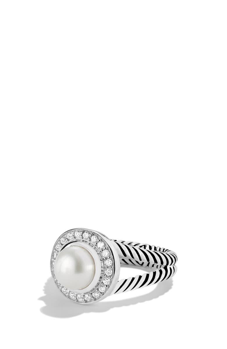 DAVID YURMAN 'Petite Cerise' Ring with Pearl and Diamonds, Main, color, PEARL