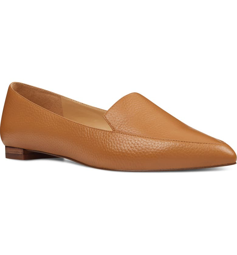 NINE WEST 'Abay' Pointy Toe Loafer, Main, color, LUGGAGE LEATHER