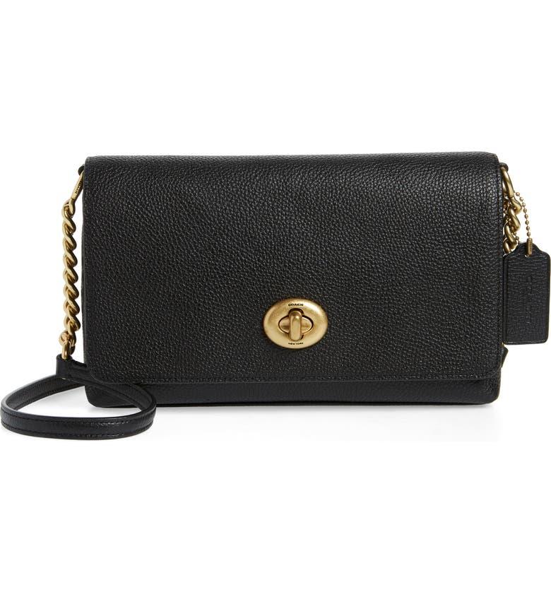 COACH Crosstown X Leather Crossbody Bag, Main, color, BRASS/ BLACK