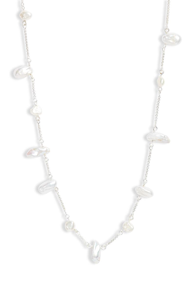 KENDRA SCOTT Krissa Natural Pearl Necklace, Main, color, BRIGHT SILVER/ WHITE PEARL