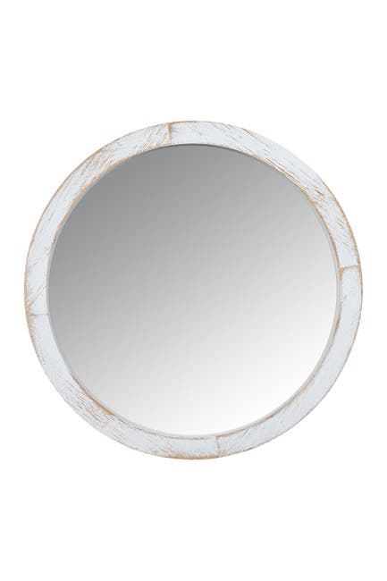 Image of Stratton Home Jane White Wash Wood Wall Mirror
