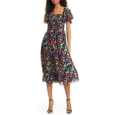 Tanya Taylor Glenda Smocked Silk Dress, Black