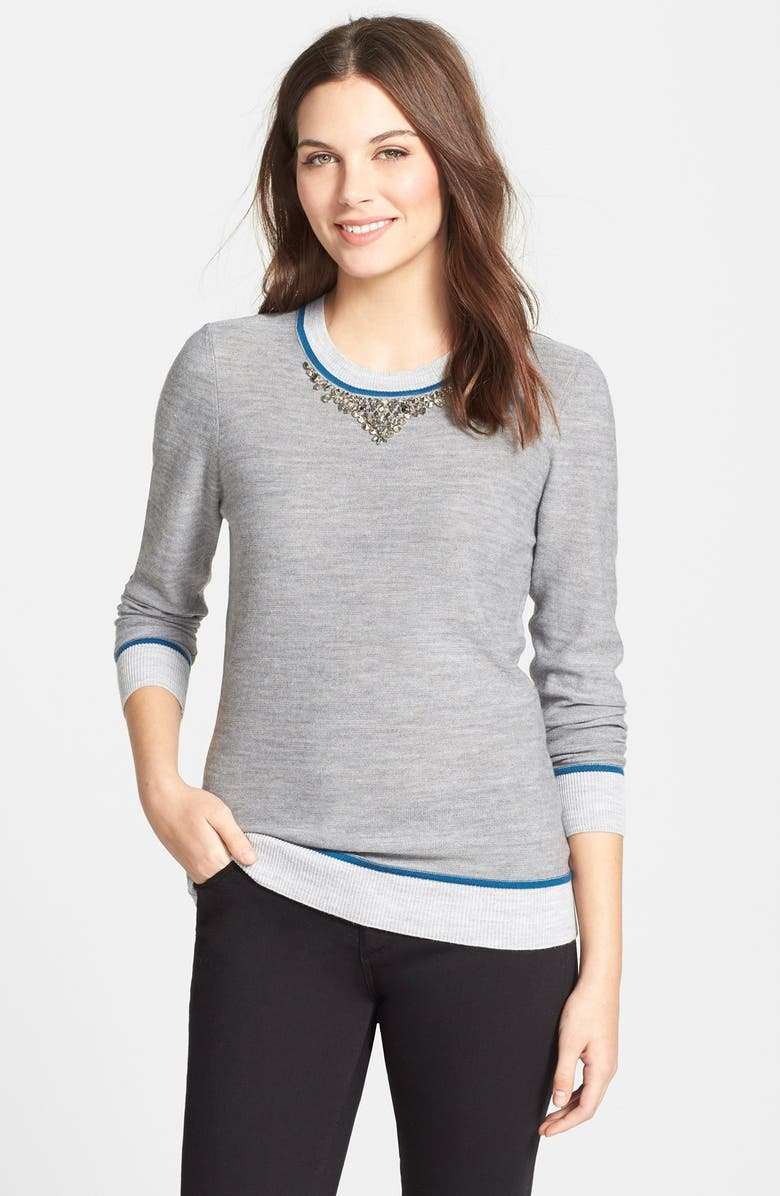 ADRIANNA PAPELL Embellished Colorblock Sweater, Main, color, 020