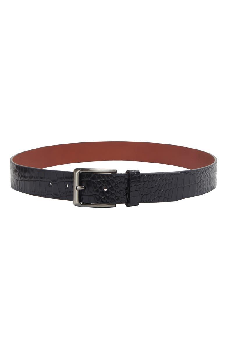 TRAFALGAR Matisse Leather Belt, Main, color, BLACK