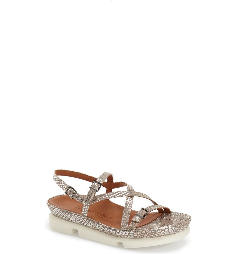 L'AMOUR DES PIEDS 'Verdun' Crisscross Sandal, Main, color, GOLD/ SILVER SNAKE LEATHER