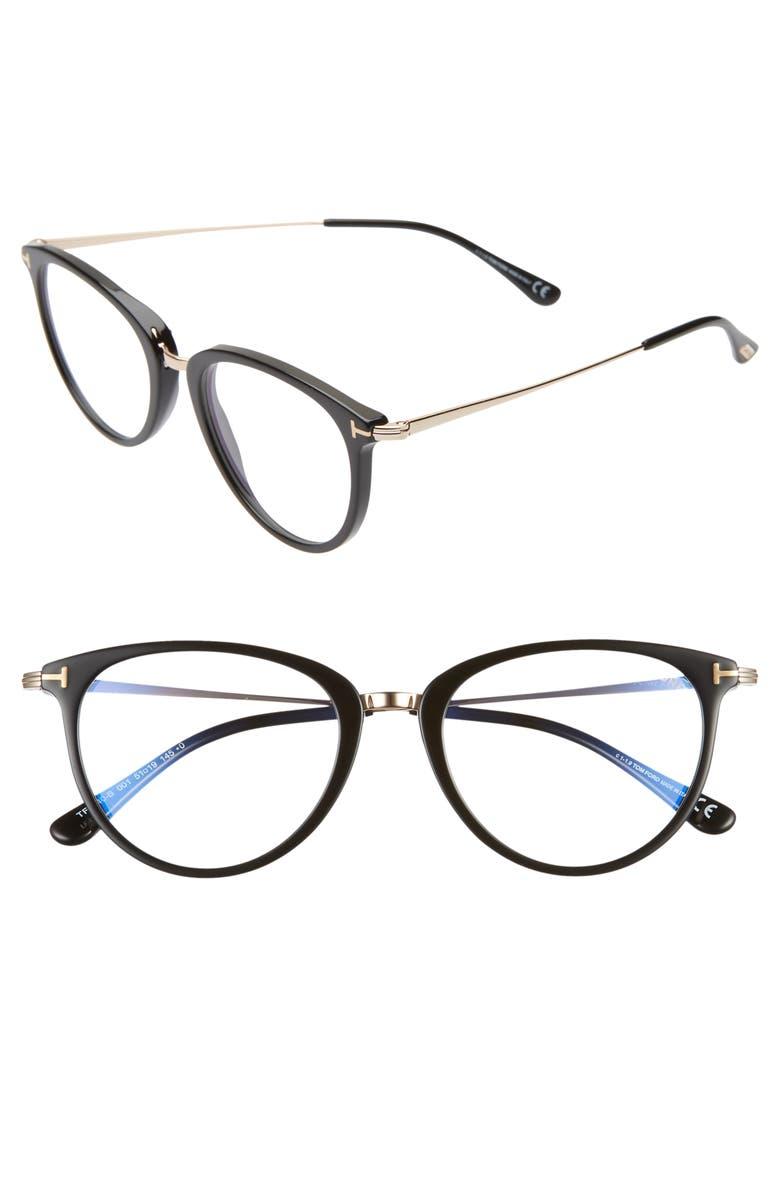 TOM FORD 51mm Blue Light Blocking Optical Glasses, Main, color, SHINY BLACK/ CLEAR