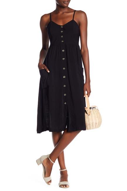 Image of GOOD LUCK GEM Button Front Sleeveless Midi Dress