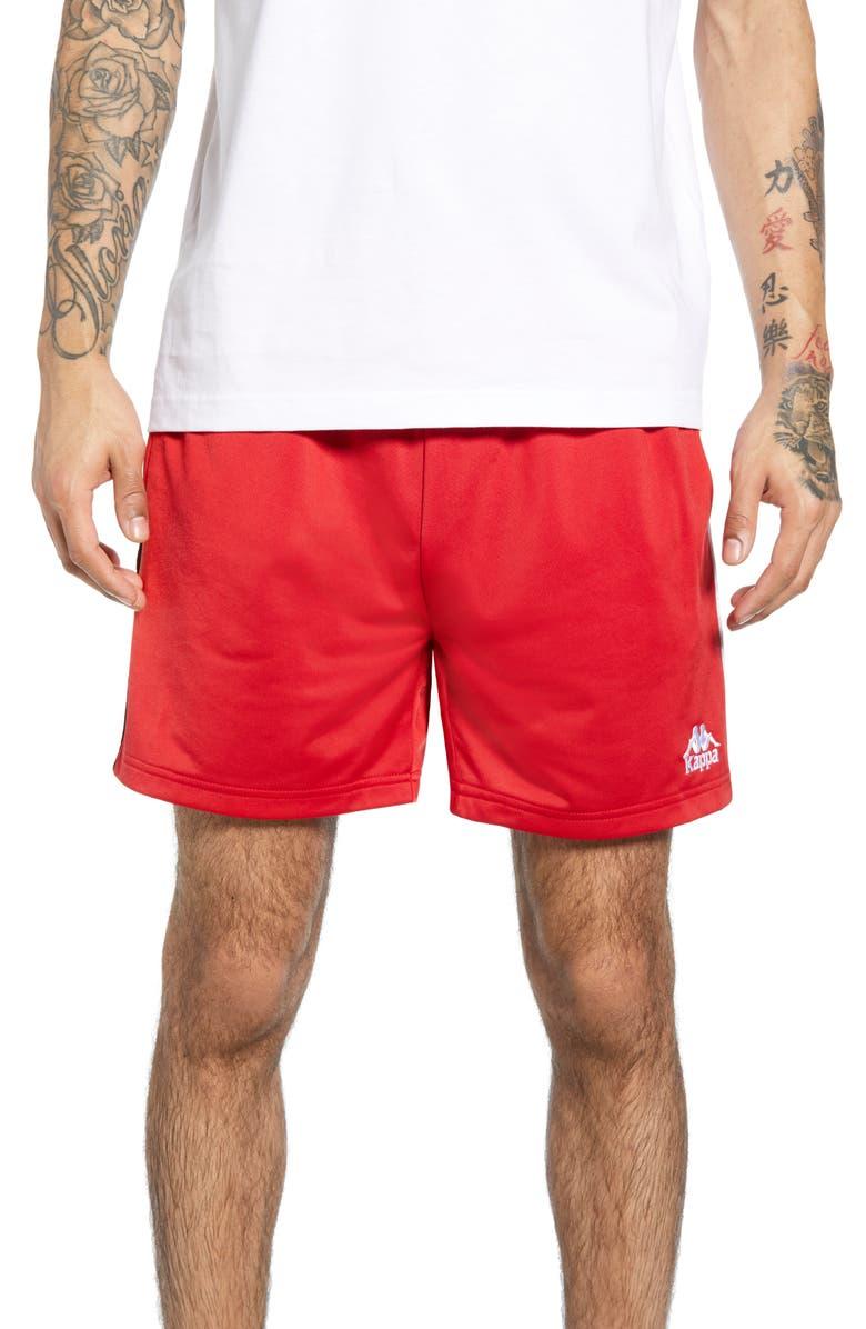 KAPPA 222 Banda Cole Athletic Shorts, Main, color, RED/ BLACK/ WHITE