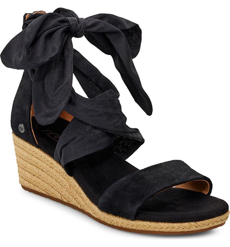 UGG<SUP>®</SUP> Trina Ribbon Tie Wedge Sandal, Main, color, BLACK LEATHER