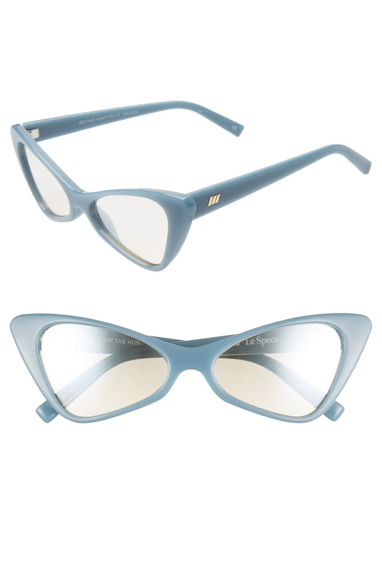LE SPECS On the Hunt 54mm Cat Eye Sunglasses, Main, color, PACIFIC NAVY/ CHAMPAGNE MIRROR