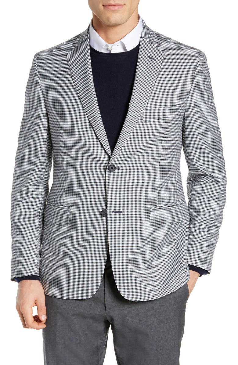 JB BRITCHES Classic Fit Check Wool Sport Coat, Main, color, BLACK
