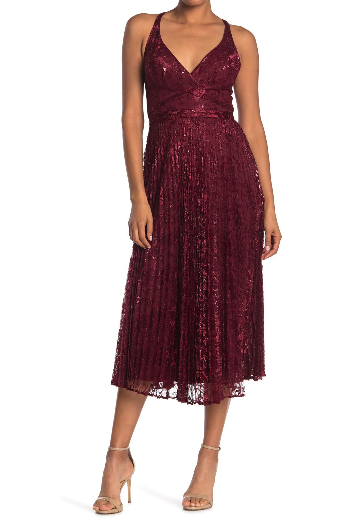 Image of Laundry By Shelli Segal Lace Pleated Midi Dress